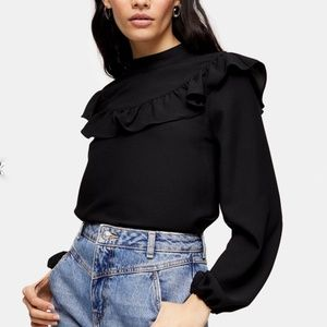 Topshop Frill Blouse with Yoke